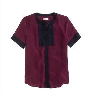 Silk Short Sleeve  Bib Top in Colorblock